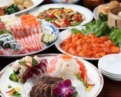 5,000円飲み放題コース 刺身、中華料理5品、デザート
