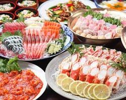 6,000円飲み放題コース 刺身、カニ、寄せ鍋、中華3品、デザート