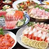 新鮮な刺身とカニ・絶品寄せ鍋 6,000円飲み放題コース