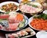 6,000円飲み放題コース 刺身、寄せ鍋、中華料理3品、生寿司、デザート
