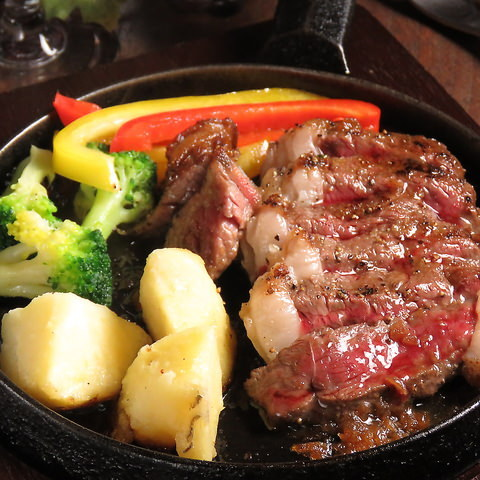 希少部位、イチボの霜降りステーキは絶品です♪
