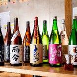 """全国各地の""""一期一会""""の日本酒を常時20種以上ご用意"""