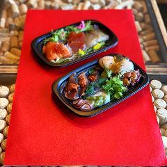 テイクアウト限定 6種類のカルパッチョ盛り合わせワンラク上の手巻き寿司&刺身 オススメです