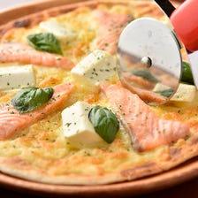 キングサーモンとクリームチーズのピザ