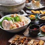 【2時間飲み放題付】選べる鶏鍋&名物炭火焼・唐揚げ!極上の鍋宴会『炭のあかり鍋コース』<全6品>