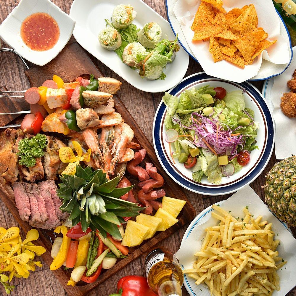 BBQ料理食べ放題コースを用意♪飲み放題も3時間と長時間で可能!