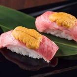 ■黒毛和牛×雲丹の贅沢W肉寿司...!!