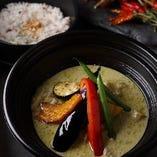 有機野菜のグリーンカレー&雑穀米