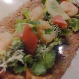エビアボカドガレット アボガドは代謝促進効果が高い食材で、女子に人気の高いメニューです!