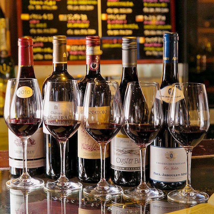 ソムリエ厳選ワイン200種以上常備