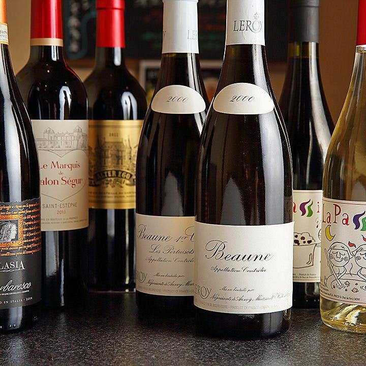 料理と相性抜群のオーナー厳選ワイン
