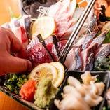 三浦半島の鮮魚を刺し盛りで堪能