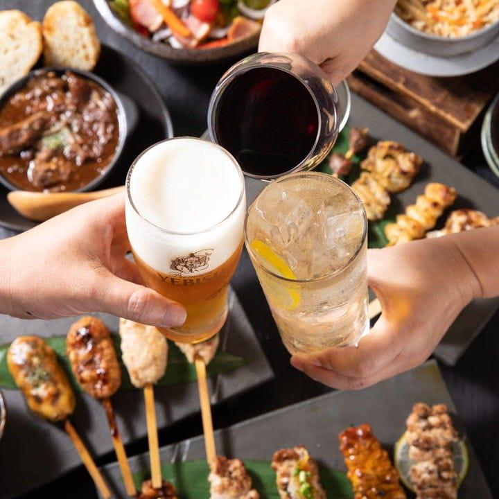 キモパッチョ、サラダ、名物の串料理もついてリーズナブルです!