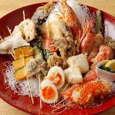 旬の野菜や大きな海老を串天ぷらに