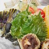 旬の味覚を天ぷらで…