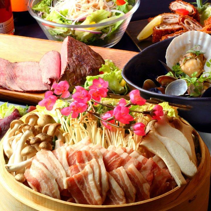 3H飲み放題+金目鯛と旬野菜のせいろ蒸鍋・鮮魚3点盛り■全9品【スタンダードコース】5500円→4400円
