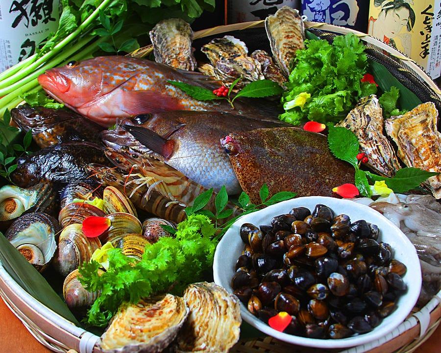 地元岡山の鮮魚・野菜などふんだんに