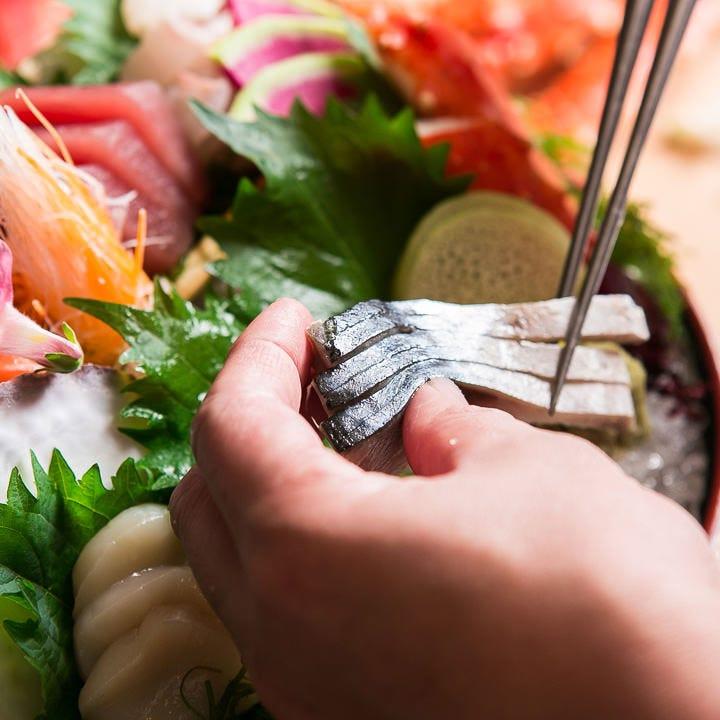 旬魚を楽しめる刺盛りはお一人様用もあり!980円(税抜)~ご用意