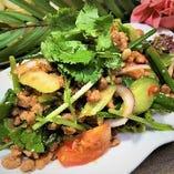 タイ風豚ひき肉と産直パクチーのHOTサラダ(ラープ・ムー)