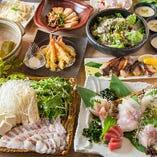 当店人気No.1!!朝獲れの絶品鯛しゃぶ贅沢海鮮コースは2.5時間の飲み放題つきで4500円!!