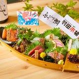 """■TVで話題となった""""超速鮮魚""""の羽田市場★獲れたての魚介を贅沢に使用した鮮魚7点盛り"""