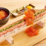 全長55cmロング海鮮ユッケ寿司!+638円いくらのこぼれ盛り