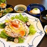 加賀野菜 金時草サラダ寿司膳