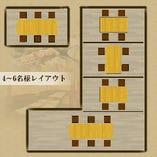 個室:席レイアウト例① 4~6名様/個室利用時