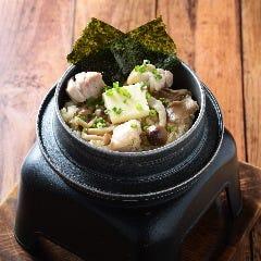 ポルチーニ香る鶏肉とキノコのクリームリゾット 釜飯style