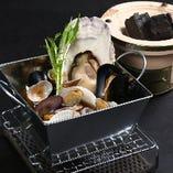 【豪快】番屋の漁師の貝風呂