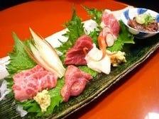 馬肉は熊本、鮮魚は全国より当日空輸