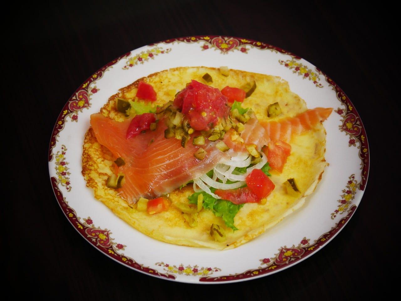 Russian Pancake with Salmon
