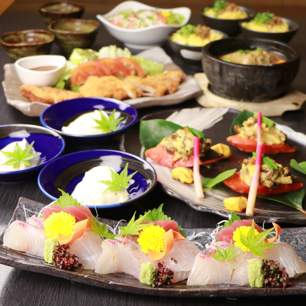 【大皿個々盛◆華コース】牛バラ焼き肉×鮮魚盛りなど≪全8品≫2h飲み放題◆5000円