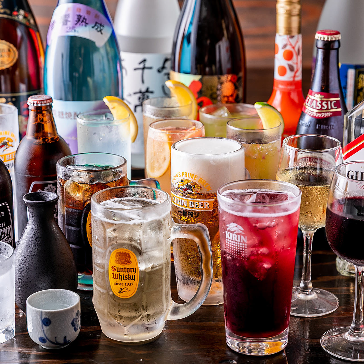 多彩なラインナップの単品飲み放題は4種類ご用意しています