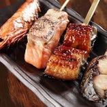 お魚5本盛り(天使のえび、鮭ハラス、うなぎの蒲焼、炙りシメサバ)