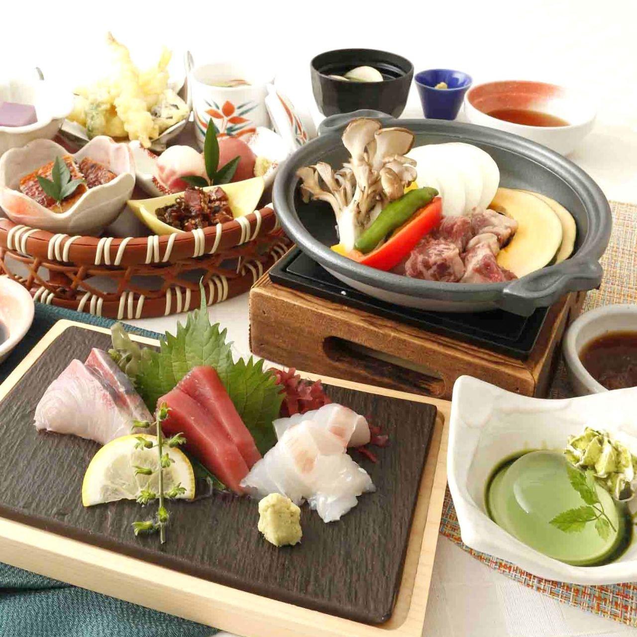 ●さくら【料理9品】牛サイコロ陶板焼・刺身盛り・手まり寿司・天ぷらも食べられる充実プラン♪