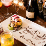誕生日や記念日に、メッセージ入りのデザートプレートでお祝い♪