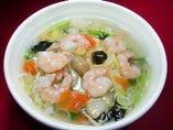 芝エビタンメン(塩) プリプリ芝エビと野菜のあんかけラーメン