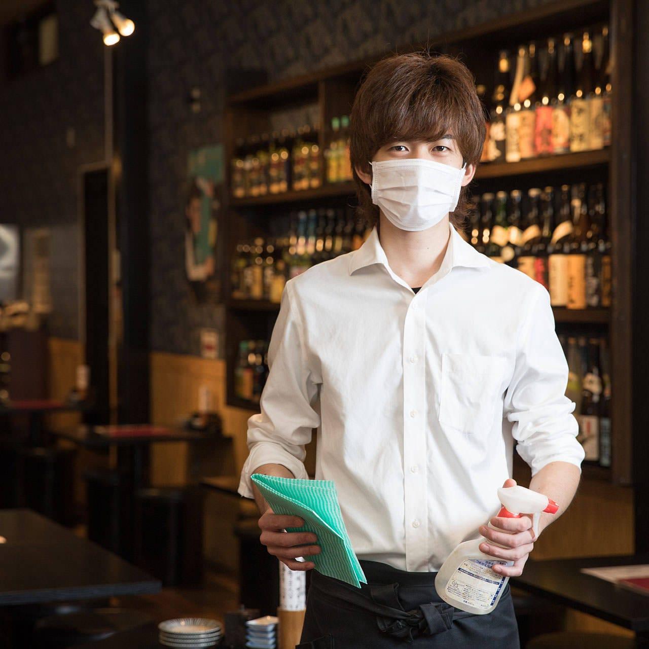 消毒、マスク着用、コース個別盛りなど感染予防対策を実施中◎