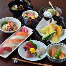 【1名ずつ個別盛り】『会席《竹》』造り3種盛りに焼き物・揚げ物・寿司3貫、ネタは日替わり♪ お料理のみ