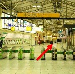 ①JR上野駅中央改札を出て広小路口方面へ50mほど進みます。