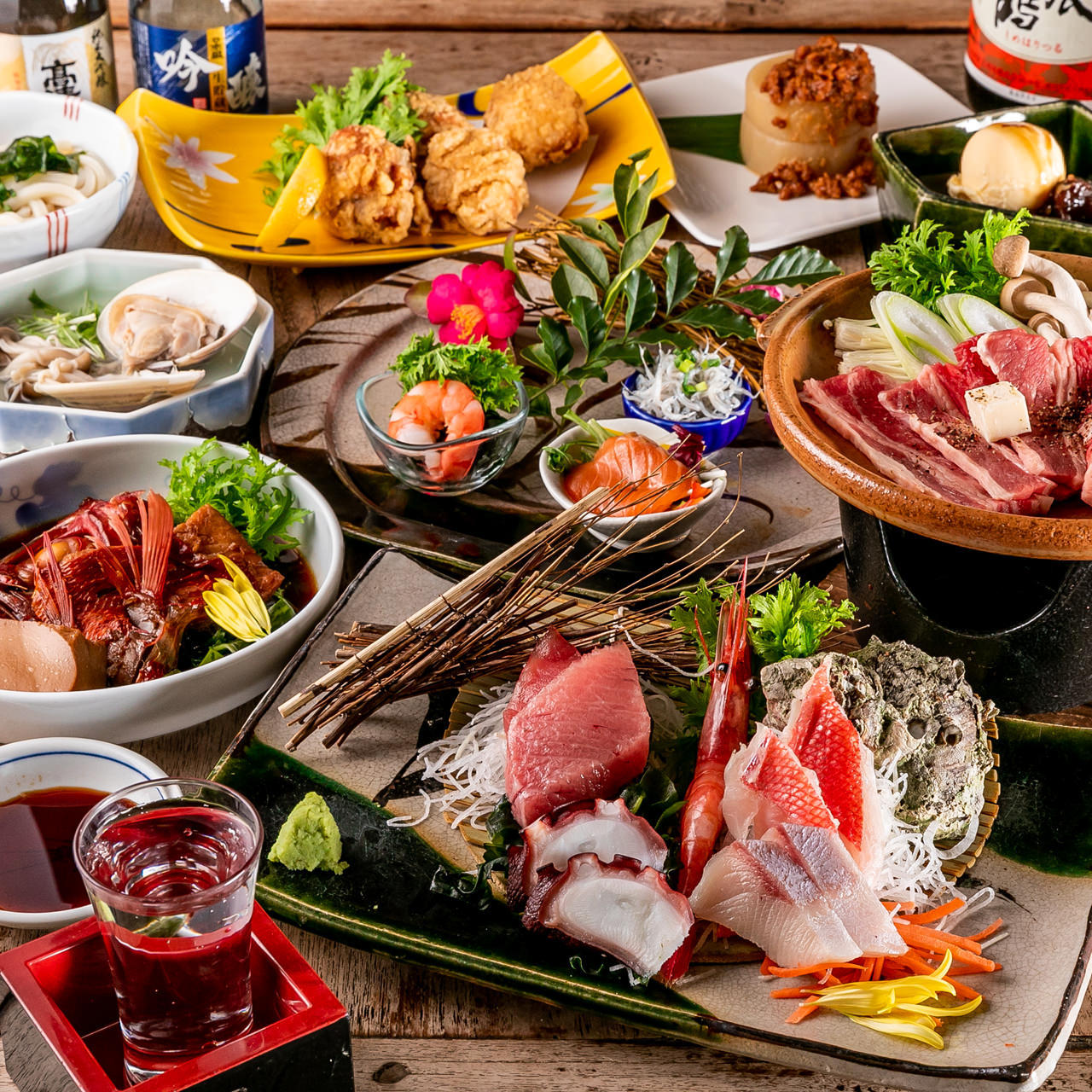 【2h飲み放題付】4月~6月限定!『金目鯛+海鮮料理+黒毛牛のコース』自慢の金目鯛と旬の鮮魚※個別盛り