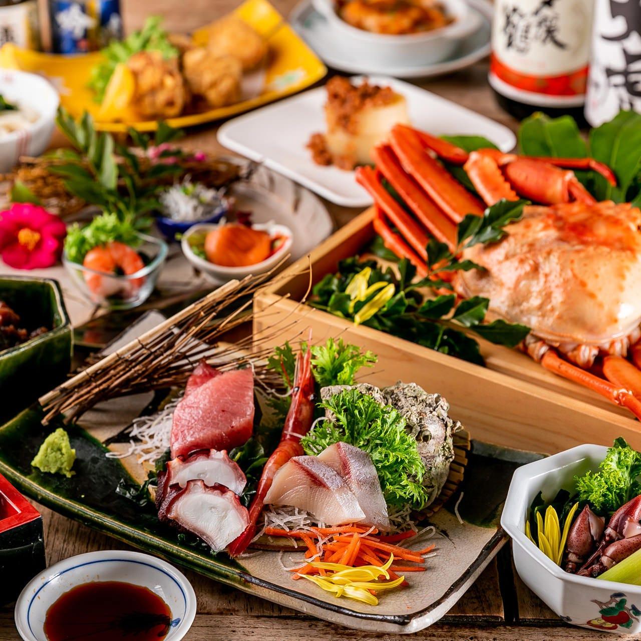 【2h飲み放題付】4月~6月限定!『紅ずわい蟹+お刺身盛り合せコース』紅ずわい蟹や旬の鮮魚※個別盛り