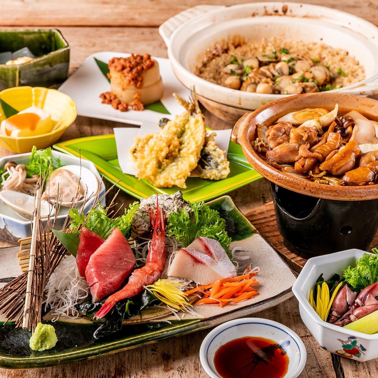 【4月~6月限定】個別盛り!『お刺身と鶏すき焼きの会席』新鮮な「生本マグロ」「地魚のお刺身盛合せ」