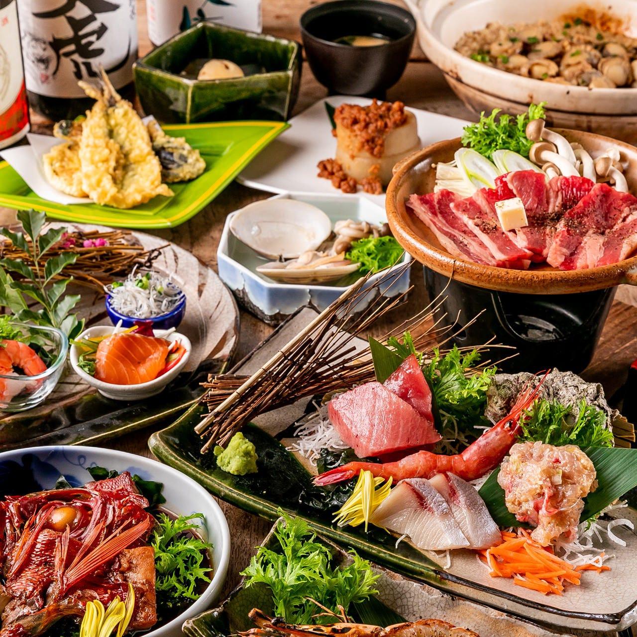 【4月~6月限定】個別盛り!『海鮮料理+黒毛牛の会席』「鮮魚のお造り」や「黒毛牛の陶板焼き」など