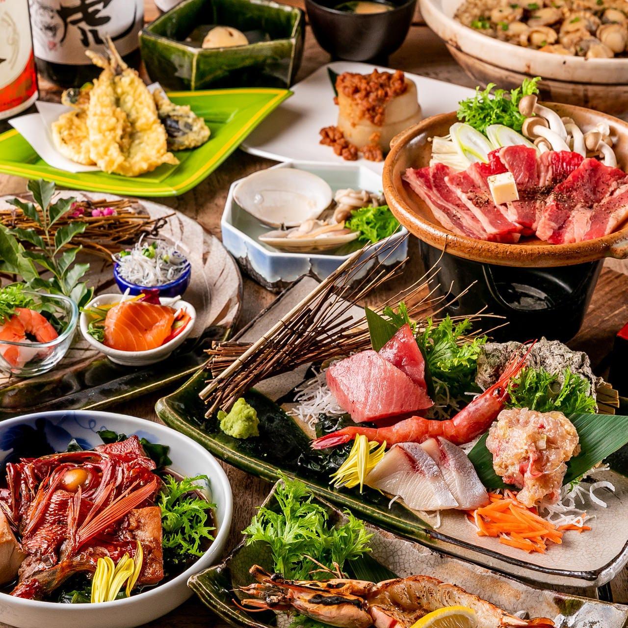 【4月~6月限定】個別盛り!『金目鯛+黒毛牛+海鮮料理の会席』海湘丸と言えば金目鯛!絶品メニューに舌鼓