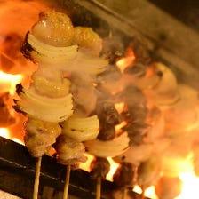 本格炭火の長門焼鳥と鶏料理の数々