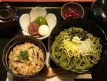 『茶そば三点セット』 ひじきご飯とミニ白玉付き!