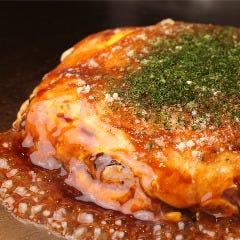 生麺お好み焼き 元祖 (そば、肉、玉子、いか天)