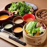 蒸し野菜と選べるサラダセット